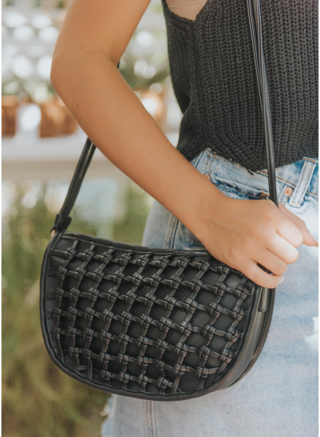 Woven Front Detail Crossbody Purse by Street Level - Black