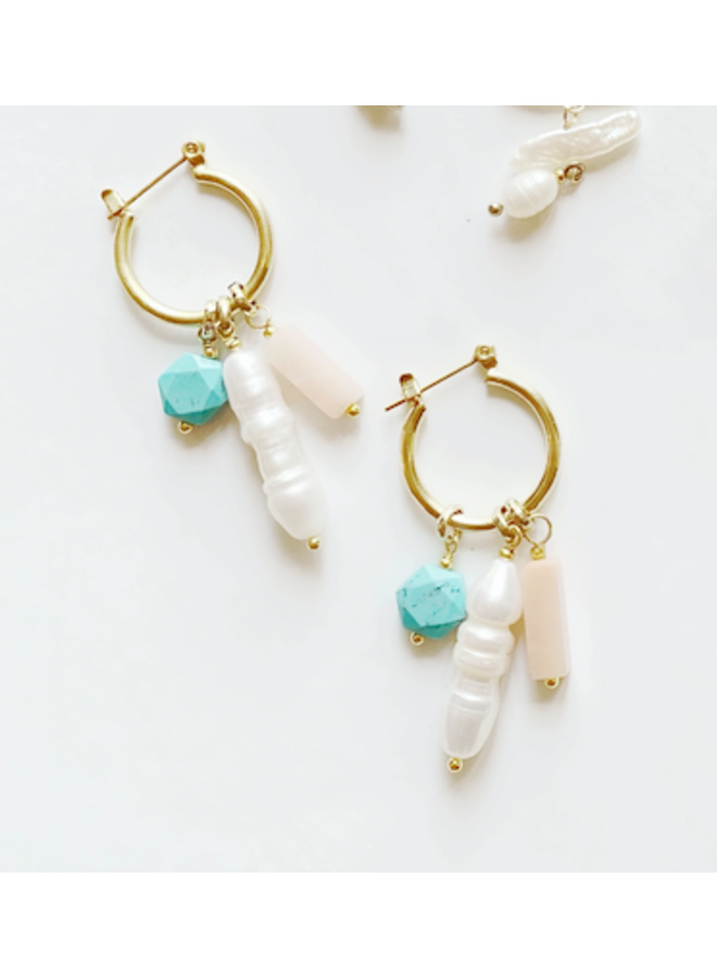 Small Hoop Earrings w/ Turquoise, Peach & Pearl  Charms