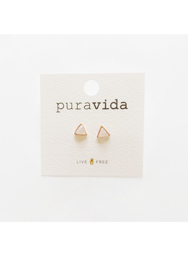 Pura Vida - Moonstone Triangle Rose Gold Earrings
