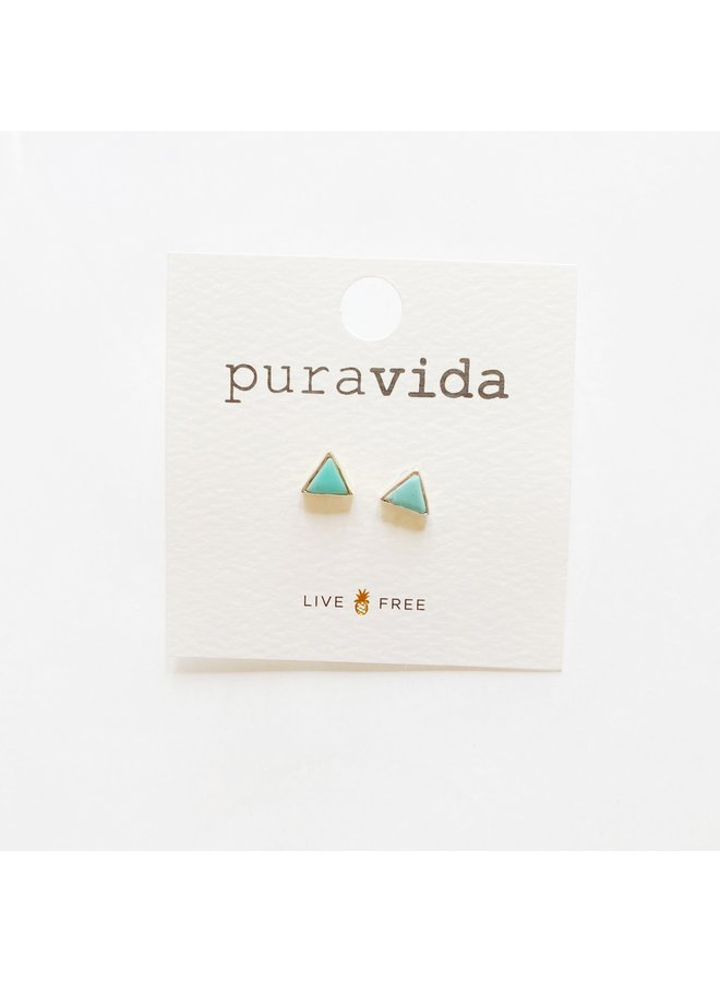 Pura Vida - Turquoise Triangle Silver Earrings