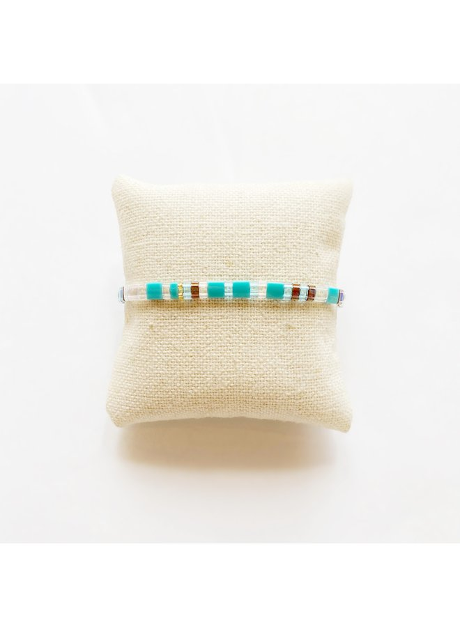 Stretchy Beaded Stripes Bracelet - Turquoise, Clear