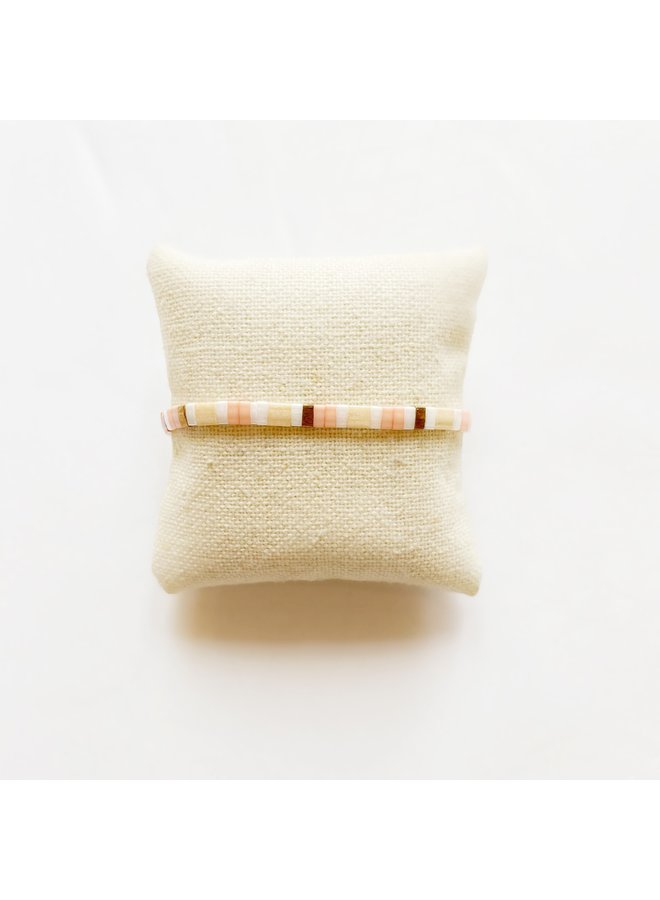 Stretchy Beaded Stripes Bracelet - Coral, Peach, White
