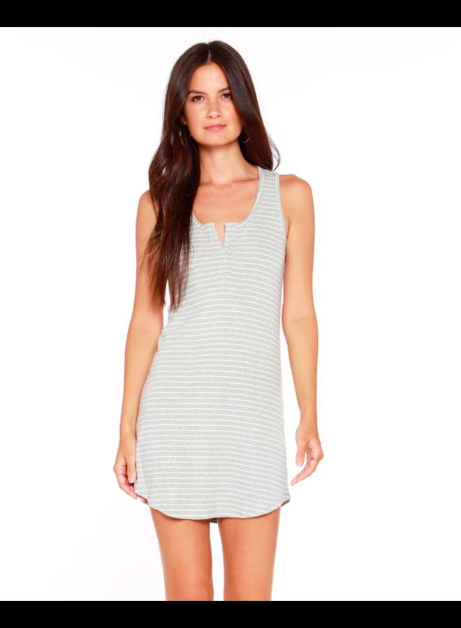 Split Neck Tank Dress - Blue & White Striped by Bobi