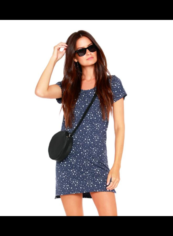 Stars Shirt Dress - Denim Blue & White by Bobi