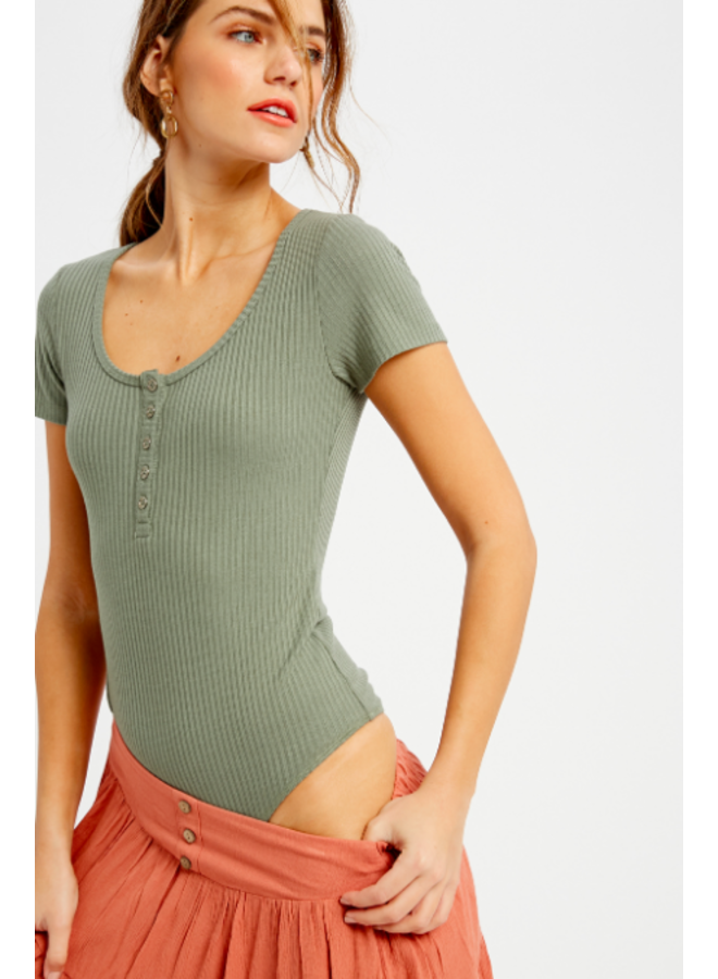 Ribbed Body Suit w/ Buttons by Wishlist - Olive