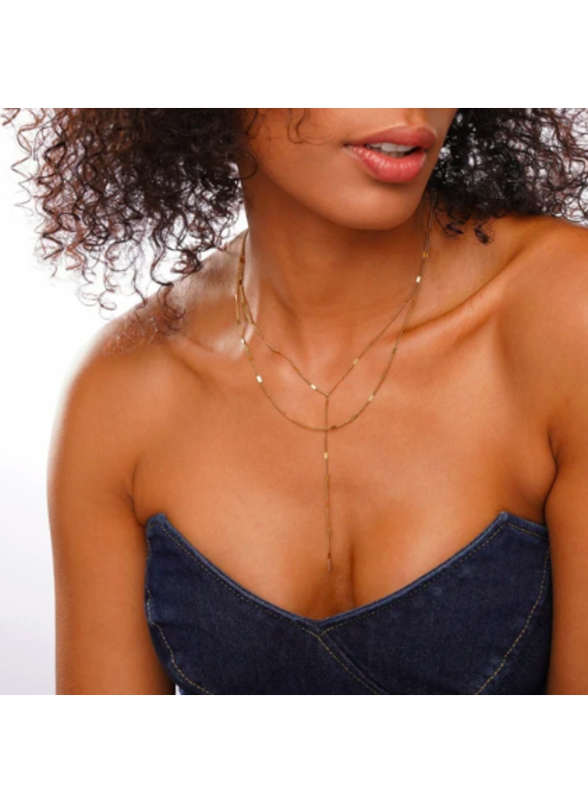Lariat Double Chain Necklace - Camilla Necklace by Ellie Vail