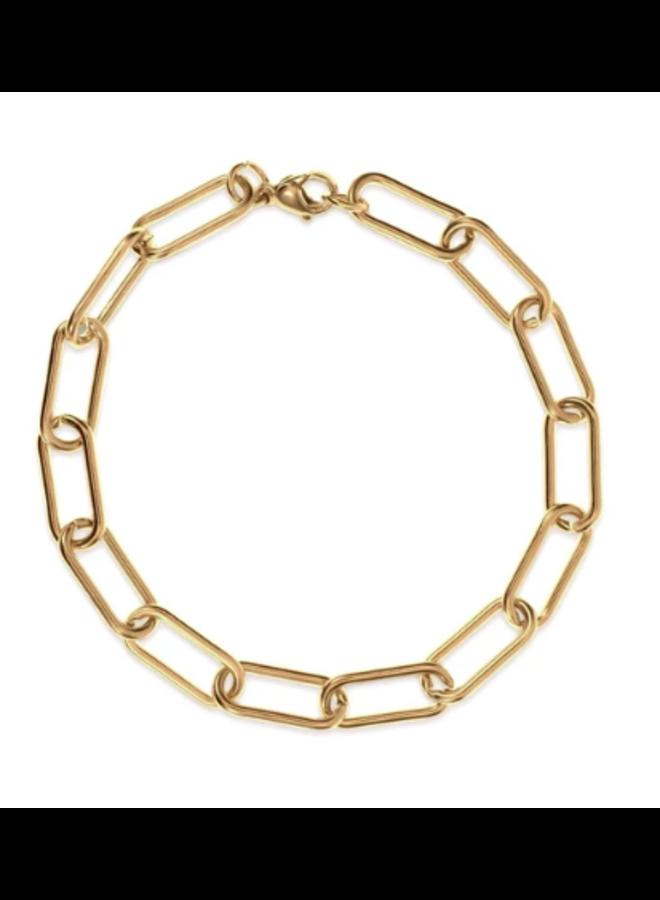 Gold Oval Link Bracelet - Carla Bracelet by Ellie Vail