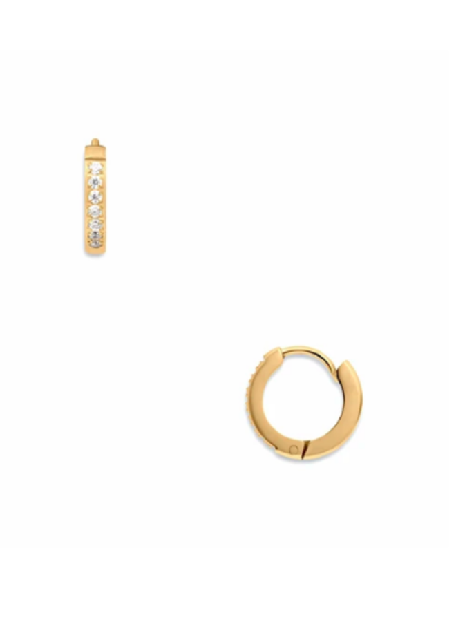 Small Hoop CZ Huggie Earrings - Tinsley by Ellie Vail