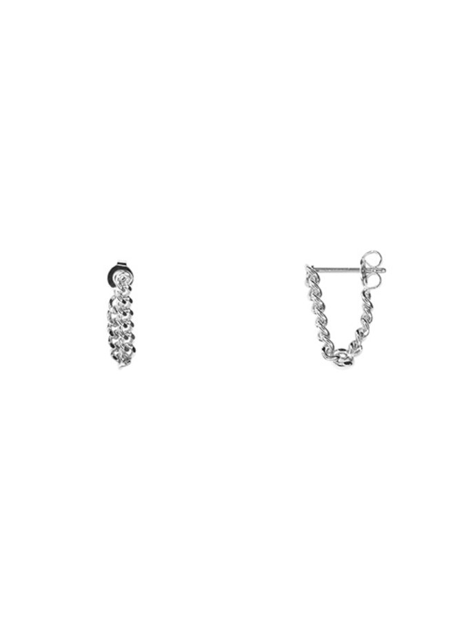 Chain Link Post Earrings- White Gold Dipped (Secret Box)