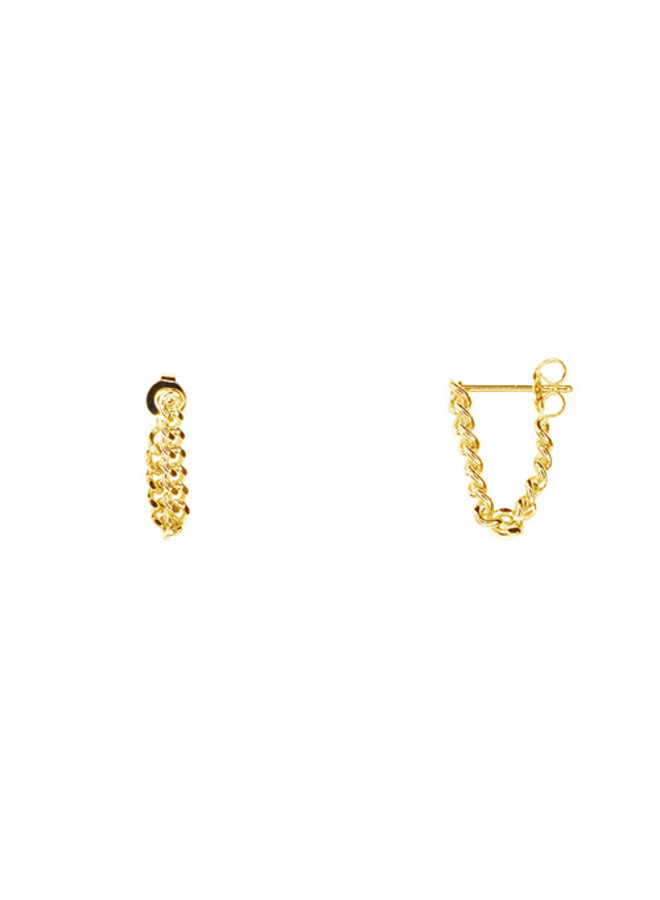 Cute Paperclip Chain- 3 Link - Post Earrings- 14K Gold Dipped (Secret Box)