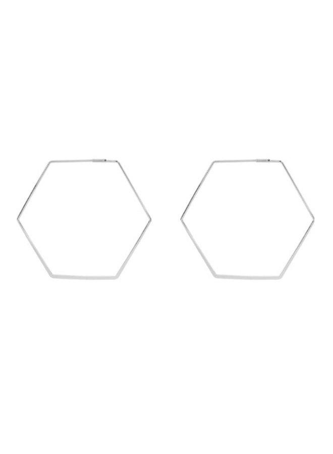 60mm Octagon Earrings- White Gold Dipped (Secret Box)