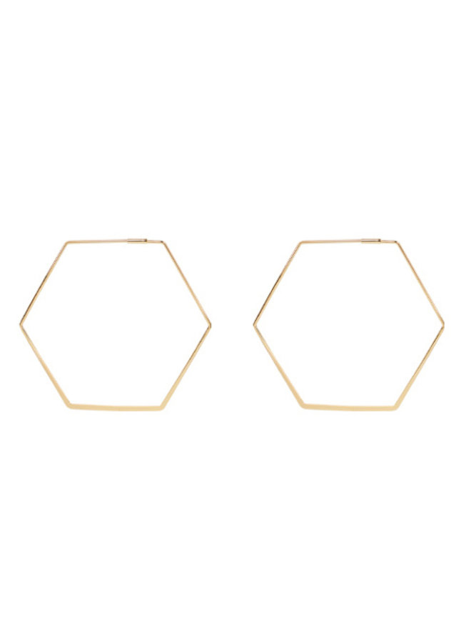60mm Octagon Earrings- 14K Gold Dipped (Secret Box)