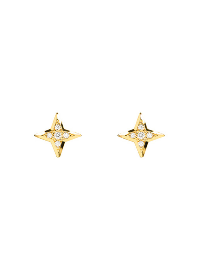 North Star CZ Post Earrings- 14K Gold Dipped (Secret Box)
