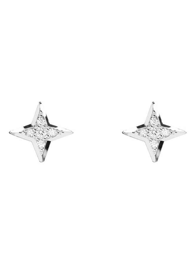 North Star CZ Post Earrings- 24K White Gold Dipped (Secret Box)