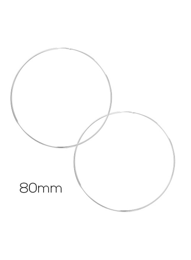 80MM XXL Hoop Earrings- White Gold Dipped (Secret Box)