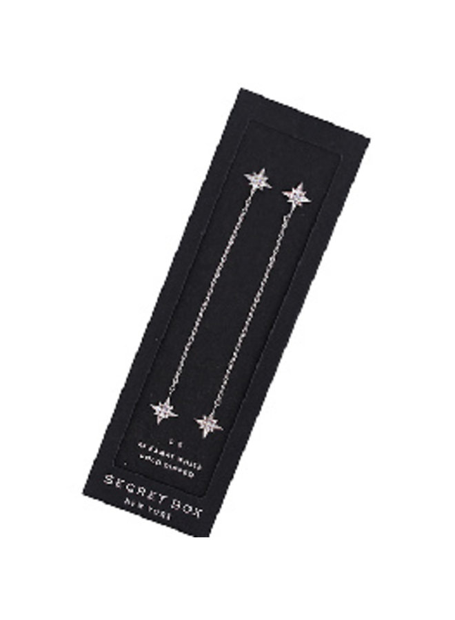 North Star CZ Dangle Earrings- 24K White Gold Dipped (Secret Box)