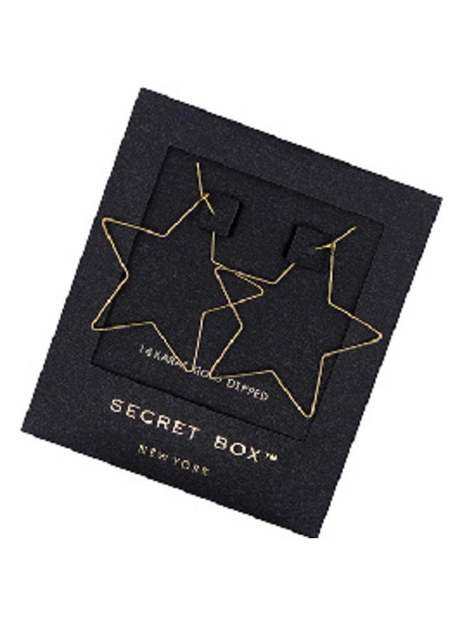 Star Wire Hoop Earrings- 14K Gold Dipped (Secret Box)