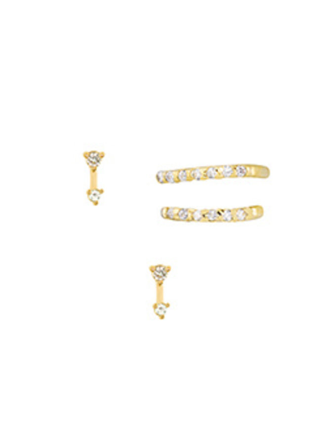 2 CZ Ear Cuff Earrings- 14K Gold Dipped (Secret Box)