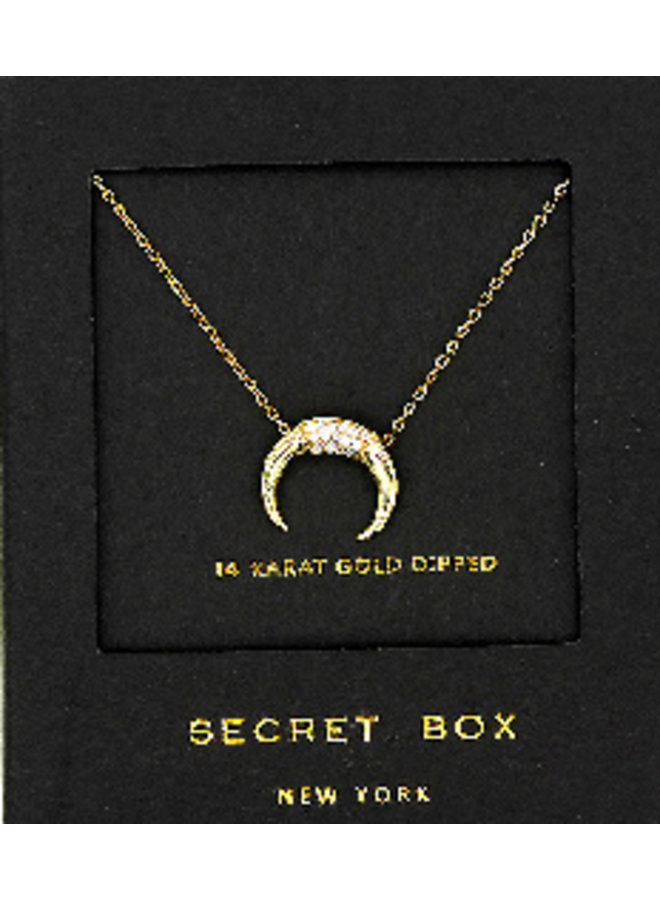 CZ Horn Necklace - 14K Gold Dipped (Secret Box)