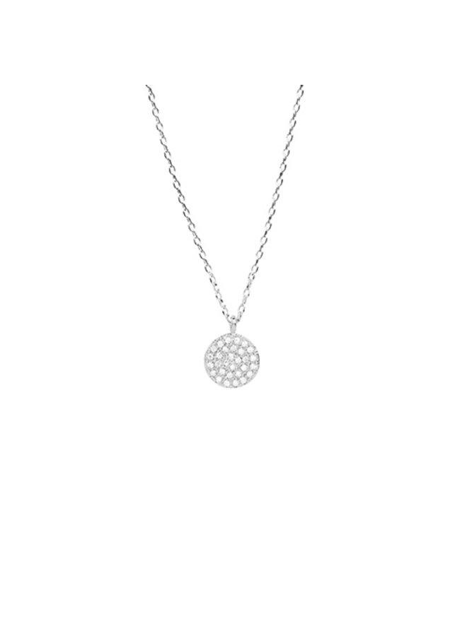 Circle CZ Pendant Necklace - 24K White Gold Dipped (Secret Box)