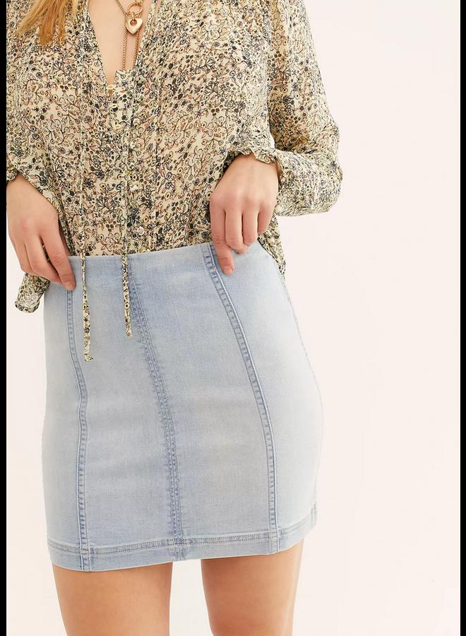 Faded Blue Denim - Modern Femme Skirt - by Free People