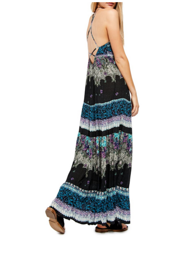 Black Boho Floral Maxi Dress w/ Criss Cross Back by Free People