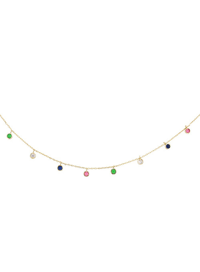Multi Colored CZ Dangle Circle Choker Necklace - 14K Gold Dipped (Secret Box)
