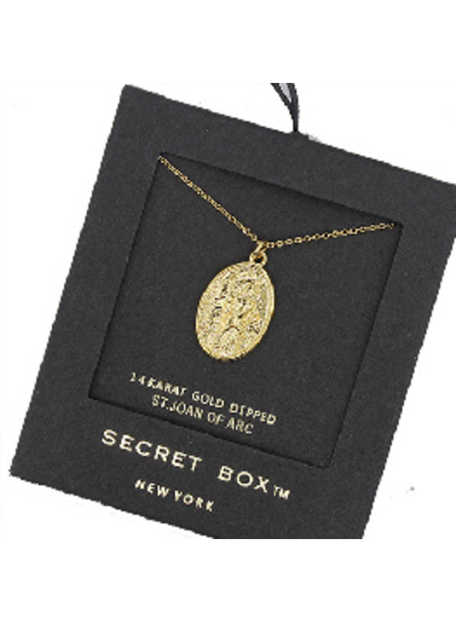 St. Joan of Arc Pendant Necklace - 14K Gold Dipped (Secret Box)