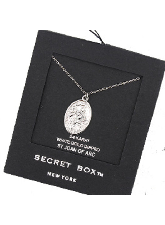 St. Joan of Arc Pendant Necklace - 24K White Gold Dipped (Secret Box)
