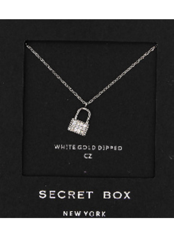 Lock CZ Necklace - 24K White Gold Dipped (Secret Box)