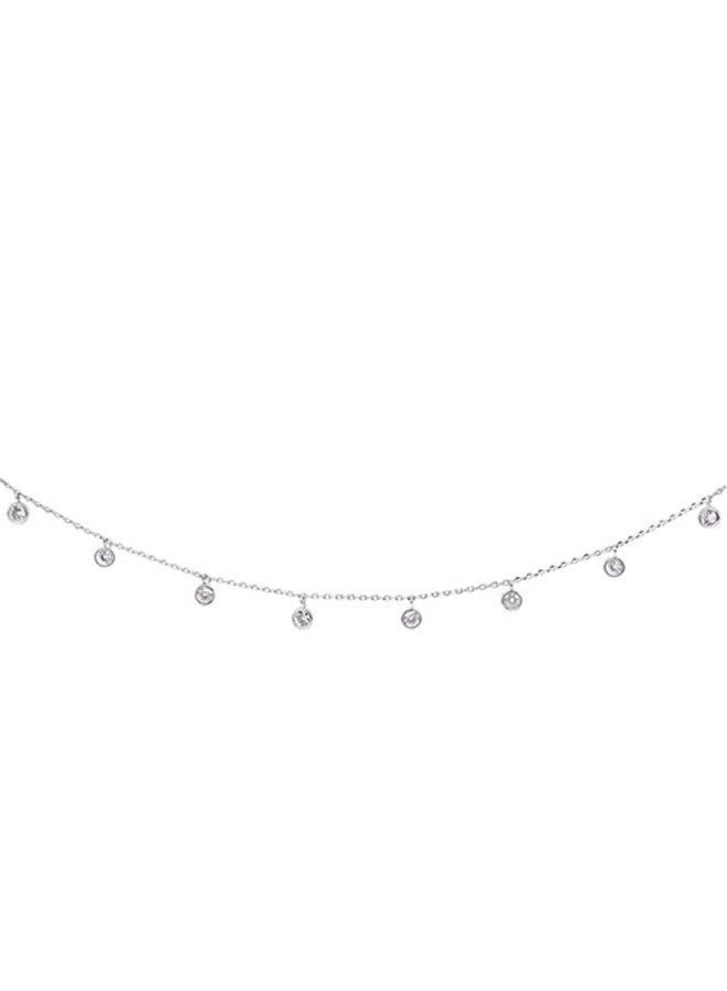 CZ Dangle Circle Choker Necklace - 24K White Gold Dipped (Secret Box)