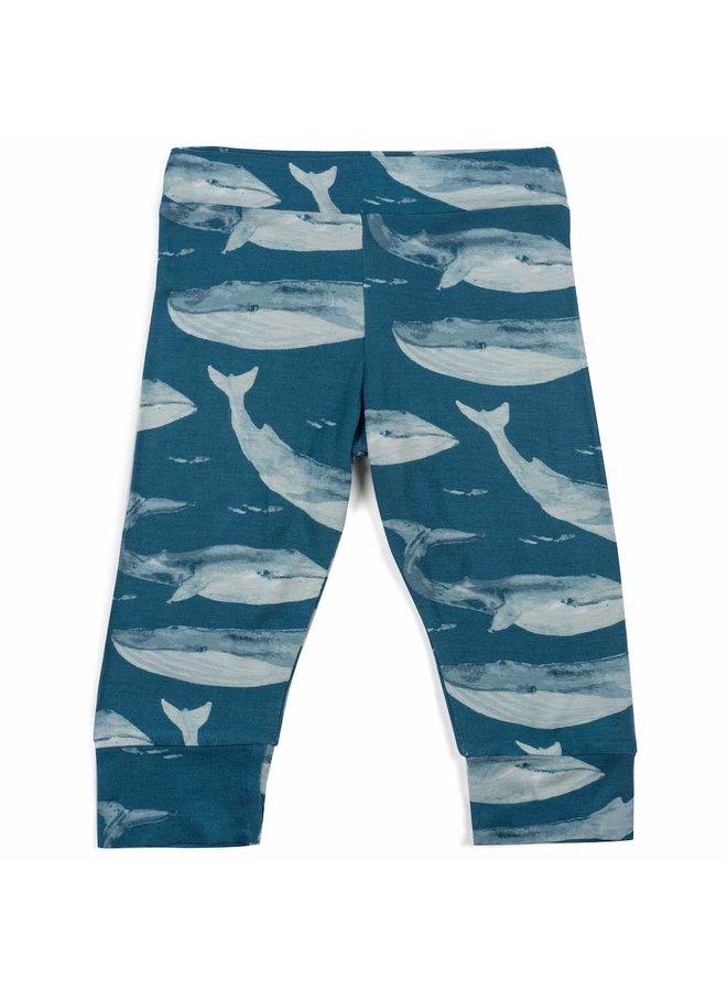 Organic Bamboo Baby Leggings - Blue Whale