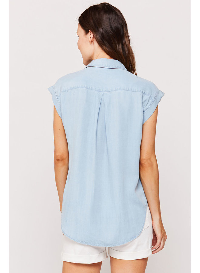 Noella Short Sleeve Lace-Up Popover Top by Velvet Heart - Light Denim