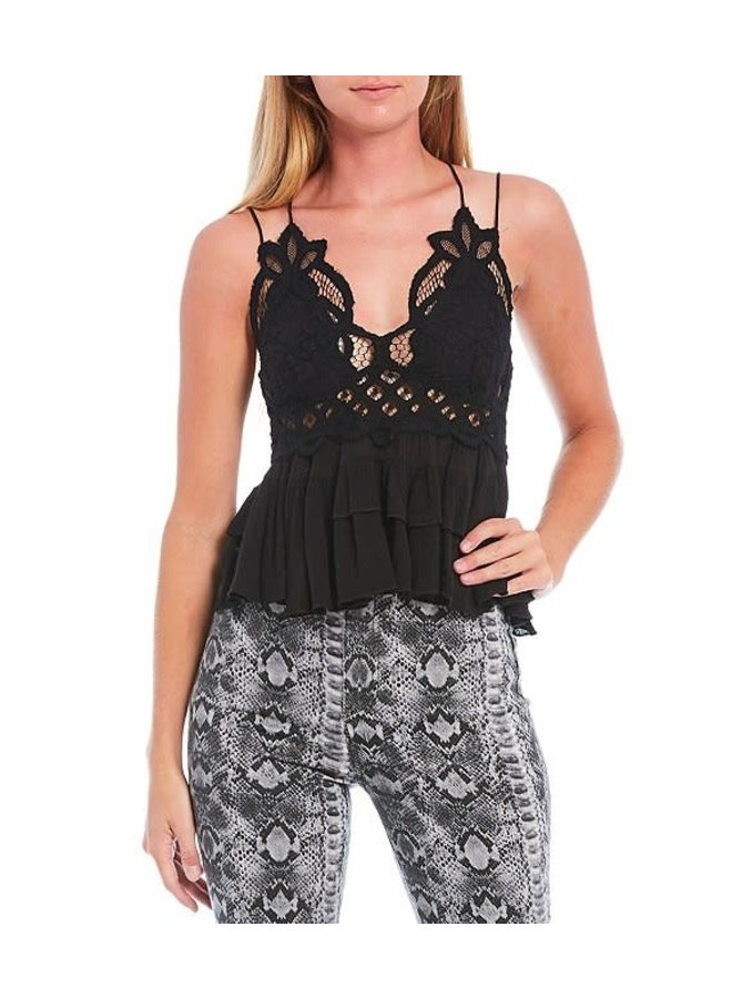 Adella Lace Detail Top by Free People - Black