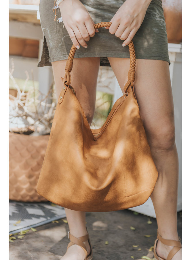 Large Hobo Bag w/ Braided Handle by Street Level - Tan