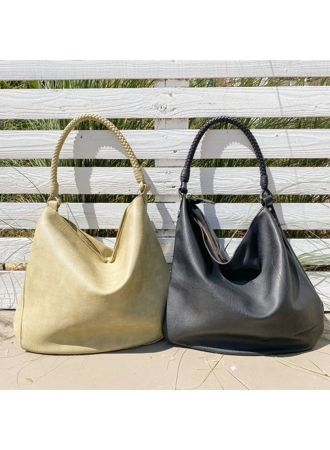 Large Hobo Bag w/ Braided Handle by Street Level - Matcha