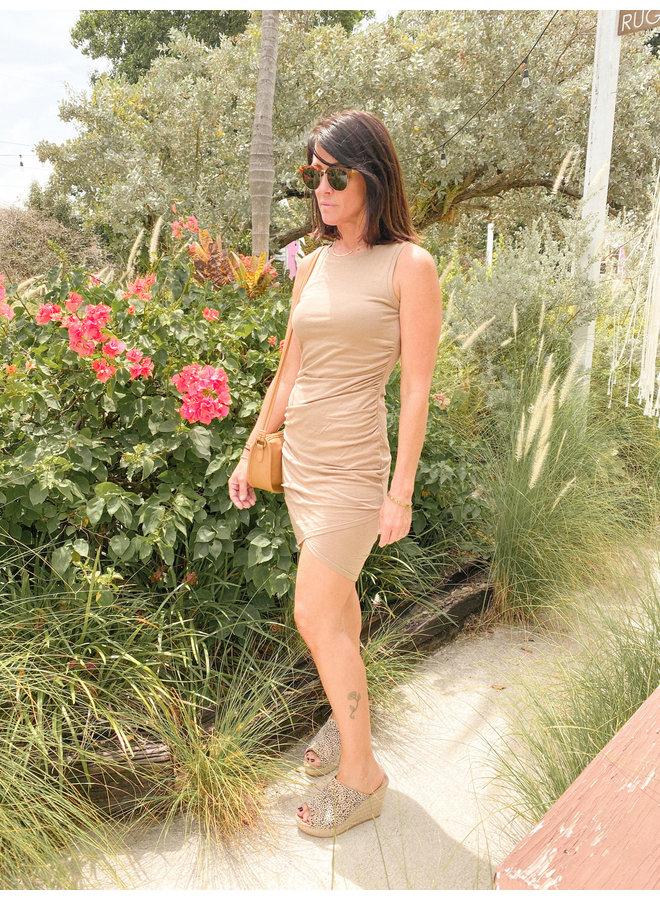 Surplice Side Ruching Tank Dress by Bobi - Sandstone Tan
