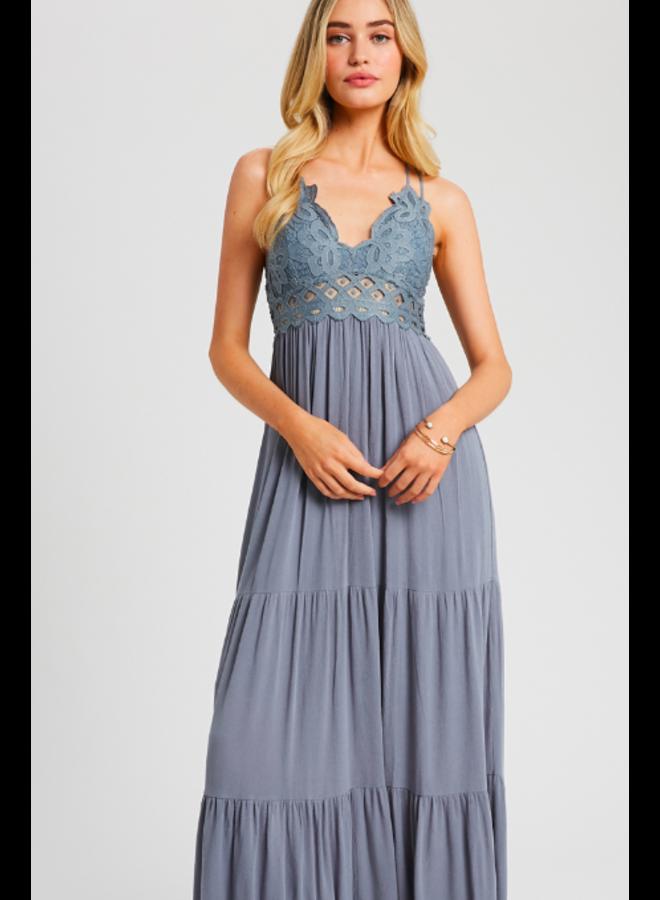 Lacey Top Maxi Dress by Wishlist - Grey Blue