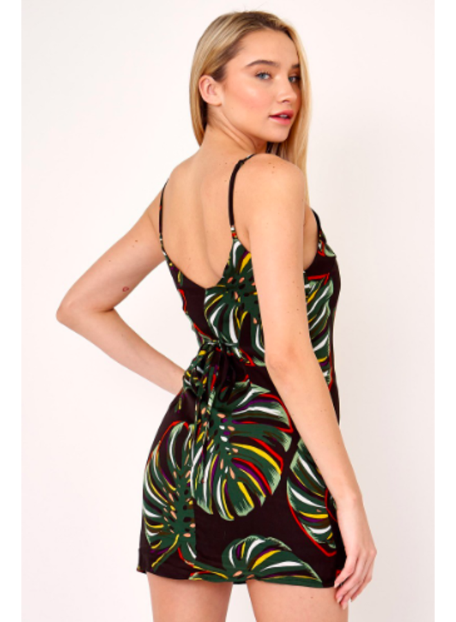 Button Down Monstera Leaf Mini Dress by Olivaceous - Black & Green