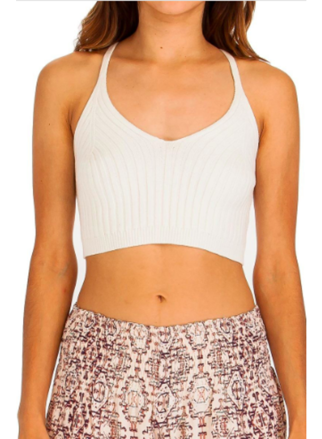 Ribbed Knit Tank Crop Top - White