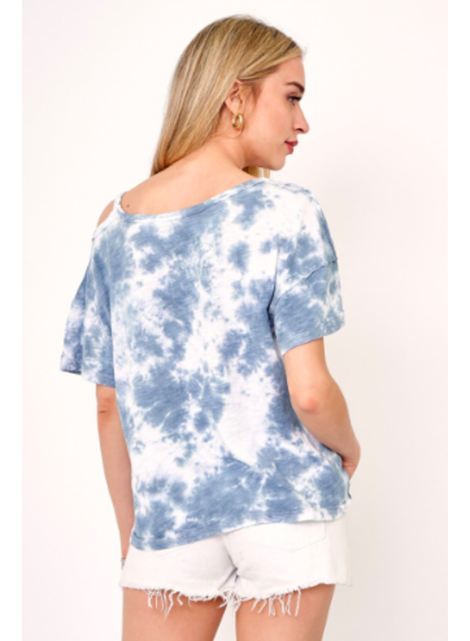 Tie Dye Tee w/ Open Shoulder by Olivaceous - Blue & White