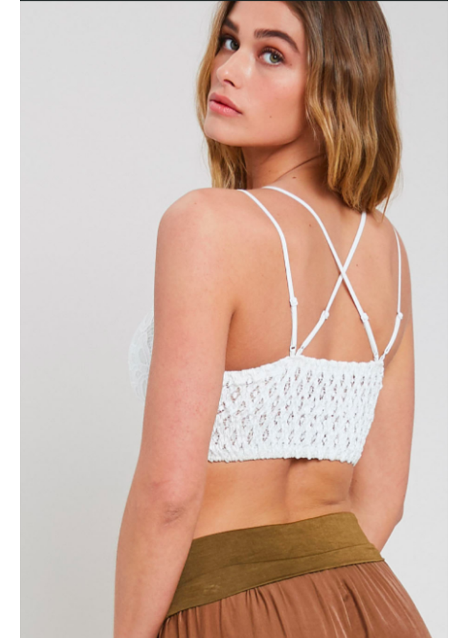Strappy Lace Padded Bralette / Crop Top by Wishlist - White