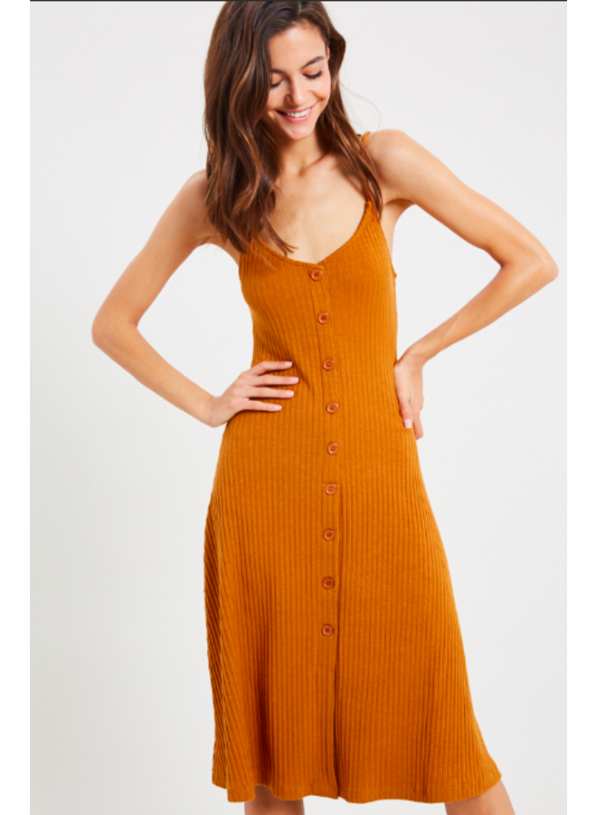 Button Down Ribbed Midi Dress by Wishlist - Amber