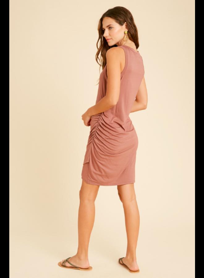 Tank Dress w/ Ruched Side  by Wishlist - Tan