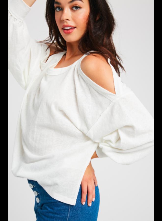 Raw Hem Open Shoulder Long Sleeve Top by Wishlist - Ivory