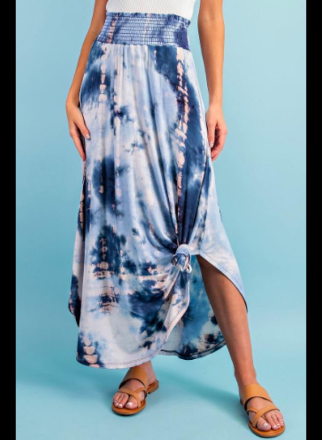 Tie Dye Stretch Waist Flowy Skirt by Eesome - Blue
