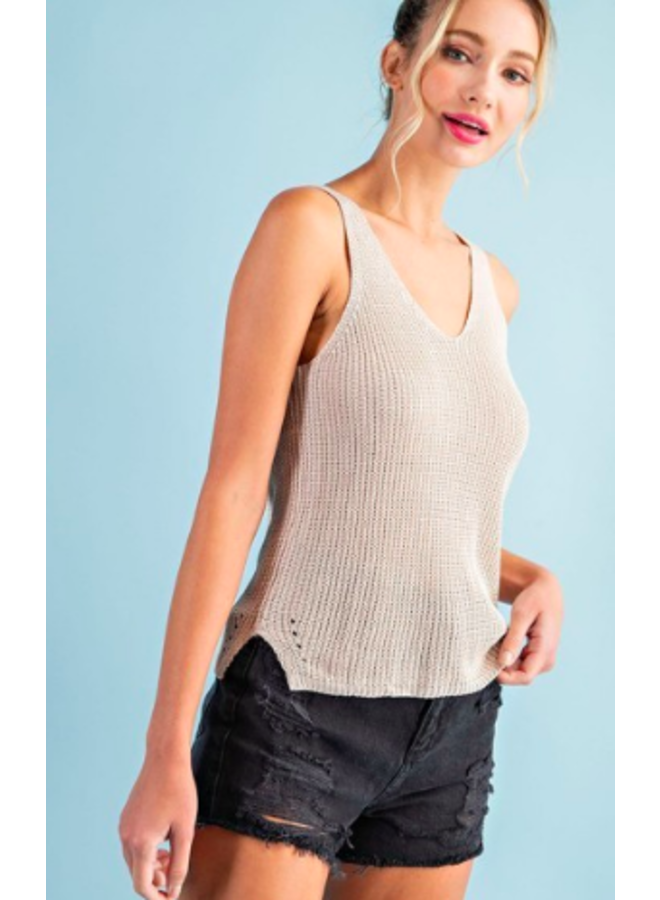 V Neck Sweater Knit Tank Top by Eesome - Oatmeal