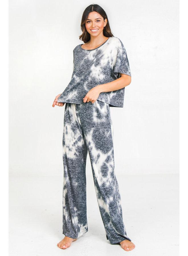 Tie Dye Flowy Loungewear Pants by Flying Tomato - Navy & White