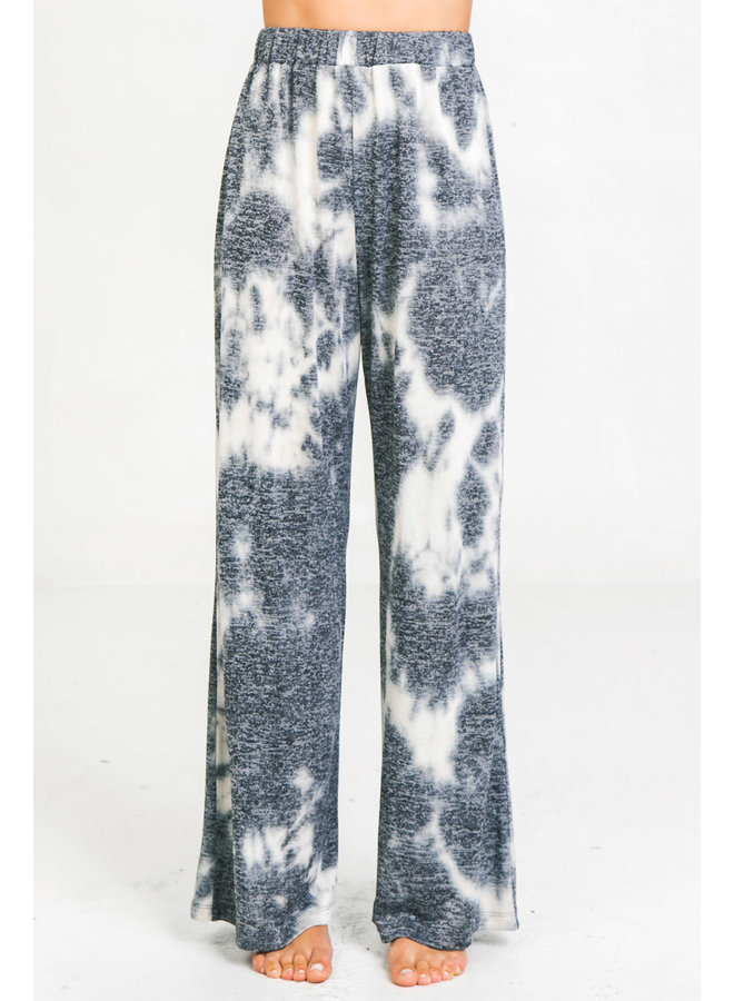 Tie Dye Flowy Lounge Pants by Flying Tomato - Navy & White