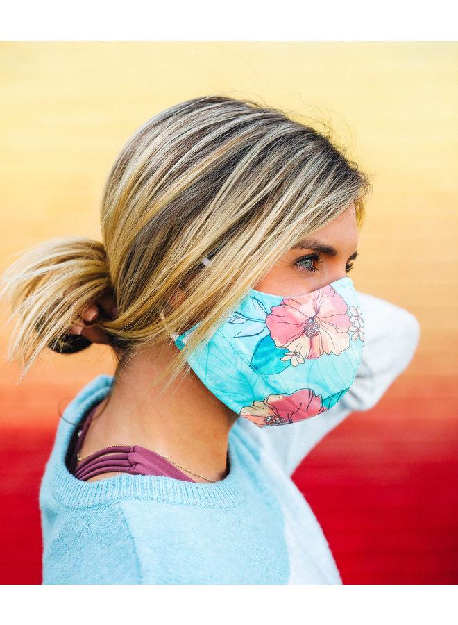 Pura Vida Mask - Turquoise  Hibiscus Print